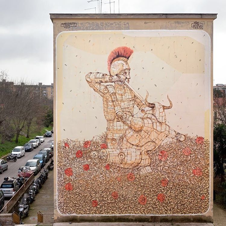 Pixel Pancho - Theseus and the Minotaur in Rome, Italy Street Art