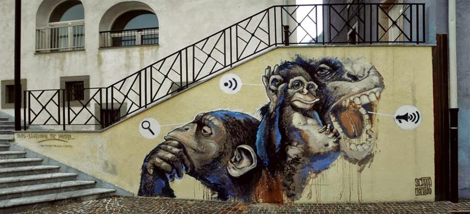 -I look, I listen, I speak-  in Gemona, Italy, by Kerotoo and  Elia Scarpa Venturini. and-love-street-art