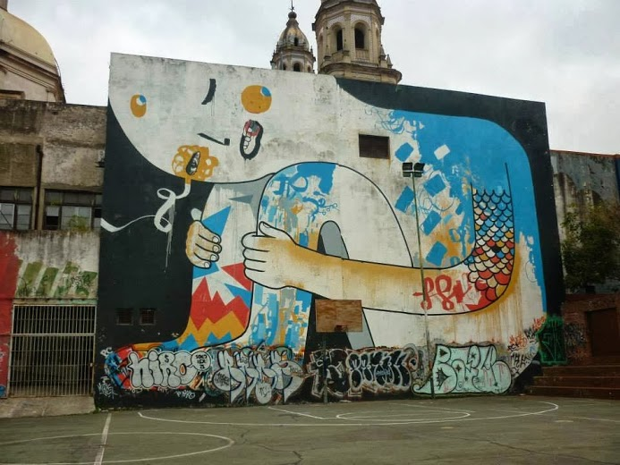Street art in San Telmo, Buenos Aires, Argentina, by Tec, Chu, Pedro Fase & Defi. Photo by Ivana De Innocentis