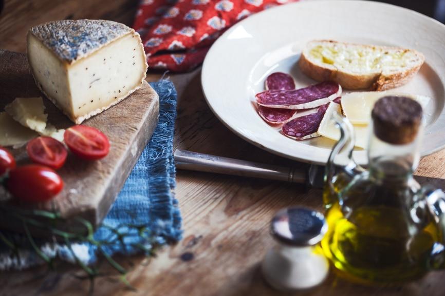 Mediterranean diet, sausge cheese and wine.