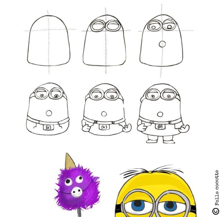 Comment dessiner un minion - Dessin facile a faire etape par etape ...