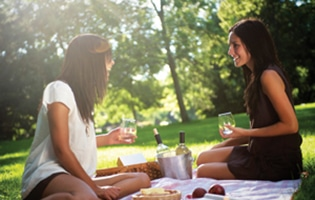 Two girls drink wine at a picnic in the park