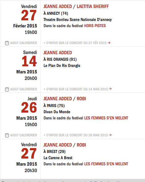 concerts Jeanne Added