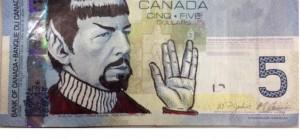 spock salut billet 5 dollars