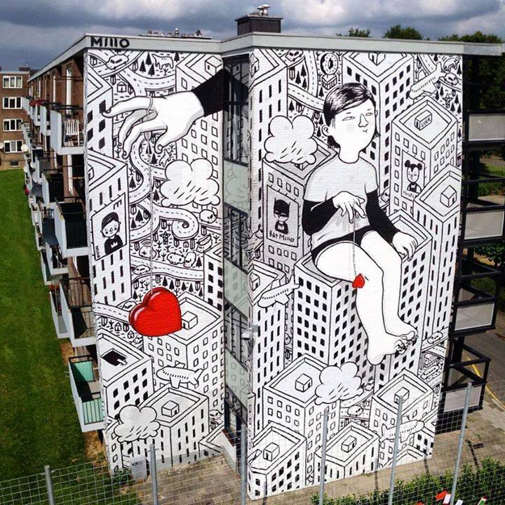 New piece by Millo entitled Kriebelstadin Heerlen, Holland