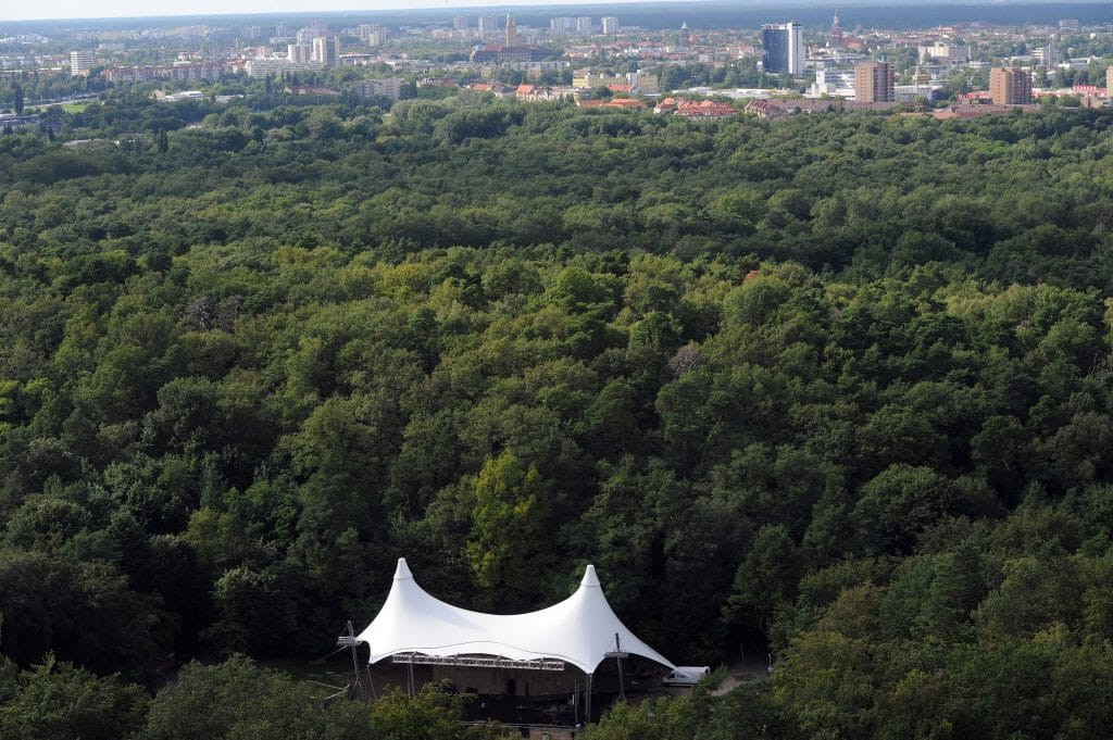 A overview of the theatre Waldbuehne taken from the Glockenturm at the Olympic compound in Berlin on July 27, 2011. AFP PHOTO / PATRIK STOLLARZ (Photo credit should read PATRIK STOLLARZ/AFP/Getty Images)
